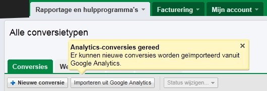 Google Analytics doelen importeren in AdWords