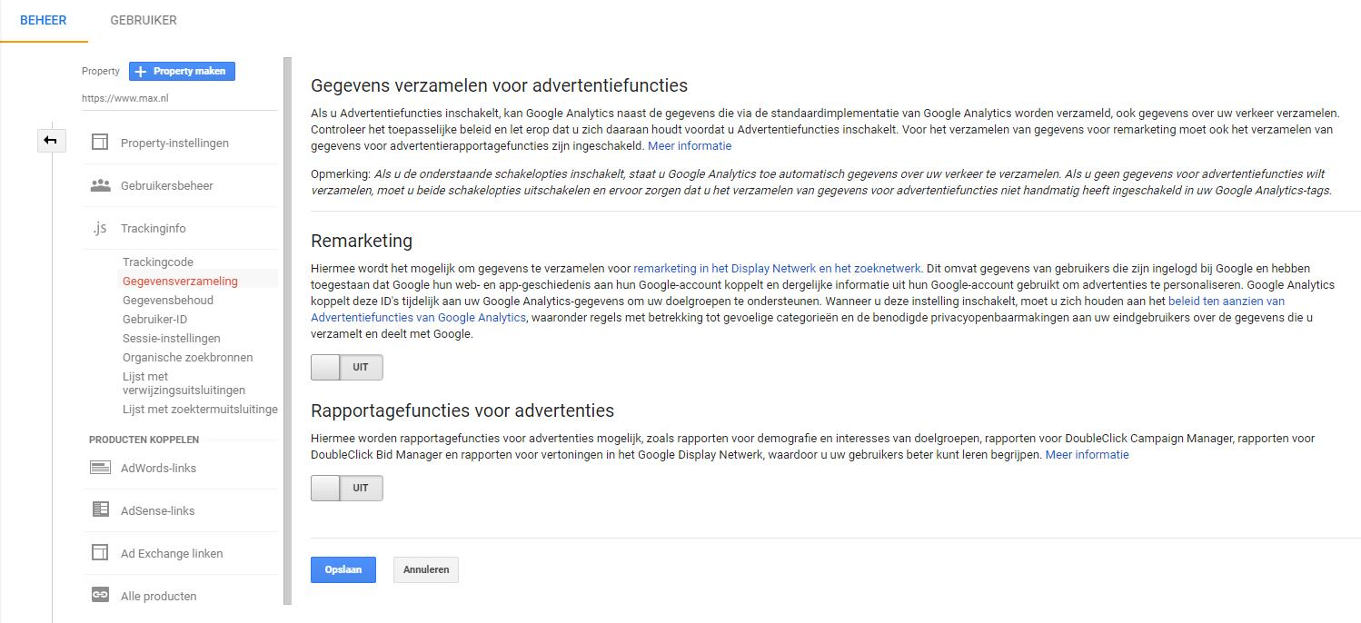 google analytics beheer advertentiefuncties