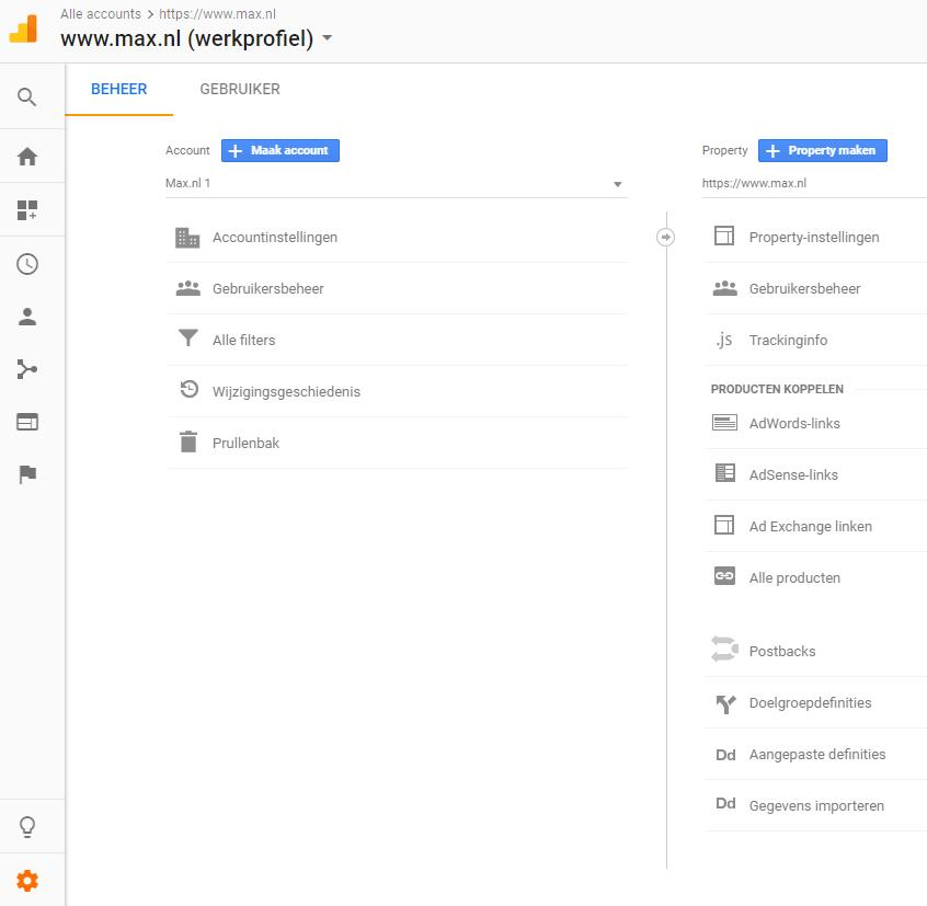 google analytics beheer