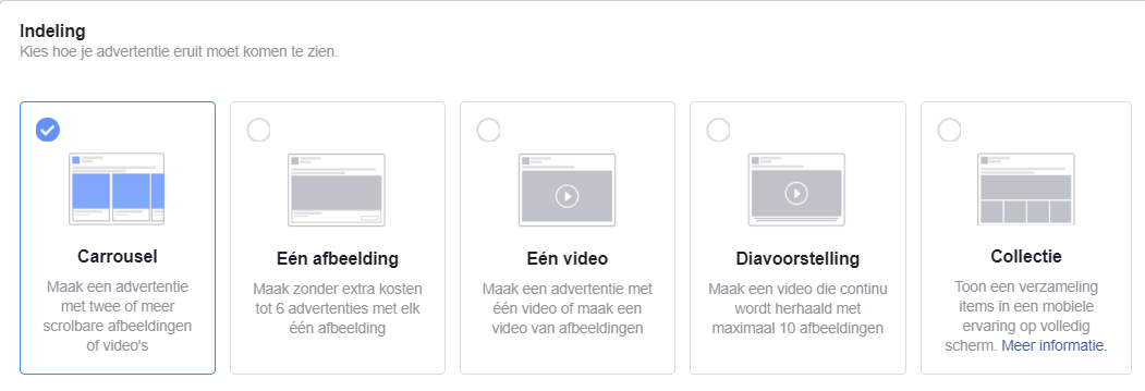 advertentie indelingen Facebook