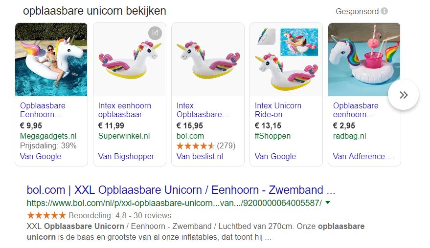 Shopping resultaten Google Ads